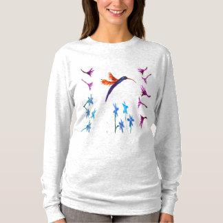 Hummingbird flowers Bird Art T-Shirt