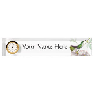 Hummingbird & Flowers Name Plate