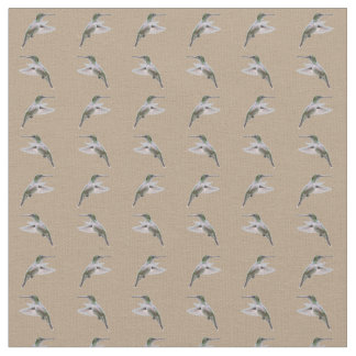 Hummingbird Frenzy Fabric (Beige)
