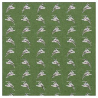 Hummingbird Frenzy Fabric (Dark Green)