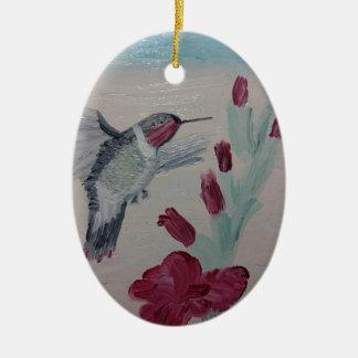 Hummingbird from Oil Painting 'Sweetness' Ceramic Ornament