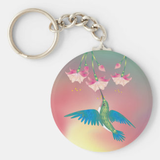 HUMMINGBIRD & FUCHSIA by SHARON SHARPE Key Ring