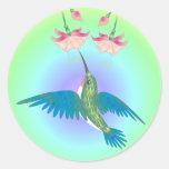 HUMMINGBIRD & FUCHSIA by SHARON SHARPE Round Sticker
