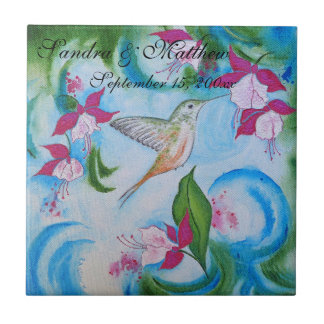Hummingbird & Fuchsia Floral Bird Wedding Coaster