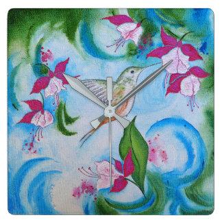 Hummingbird & Fuchsia Square Garden Art Wall Clock