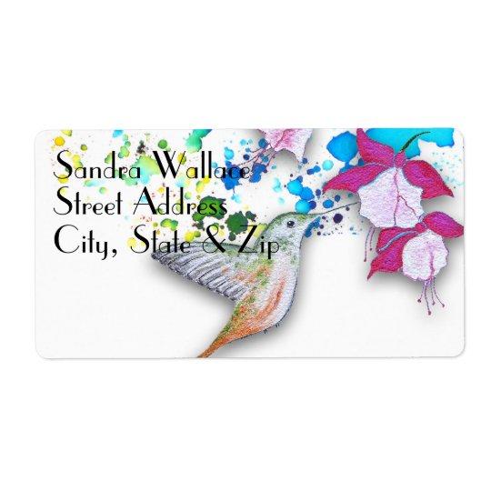 Hummingbird & Fuchsia Wedding Return Address Label