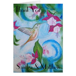 Hummingbird & Fuchsia Wedding Thank You Card