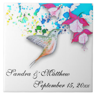 Hummingbird & Fuchsia Wedding Trivet/Coaster Ceramic Tile
