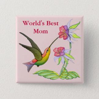 Hummingbird Garden for Mom 15 Cm Square Badge