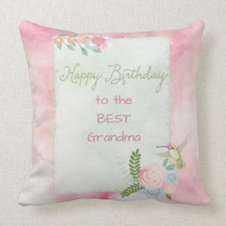 Hummingbird Garden Happy Birthday Announcement Cushion