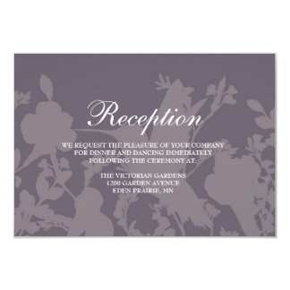 Hummingbird Garden Plum Elegant Wedding Reception Card