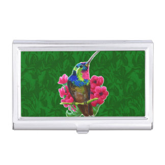 Hummingbird hand drawing bright illustration. Neon Business Card Holder