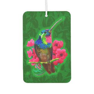 Hummingbird hand drawing bright illustration. Neon Car Air Freshener