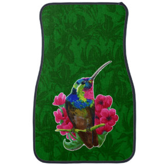 Hummingbird hand drawing bright illustration. Neon Car Mat