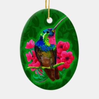 Hummingbird hand drawing bright illustration. Neon Ceramic Ornament