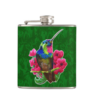Hummingbird hand drawing bright illustration. Neon Hip Flask