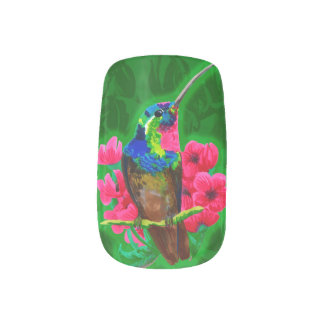 Hummingbird hand drawing bright illustration. Neon Minx Nail Art