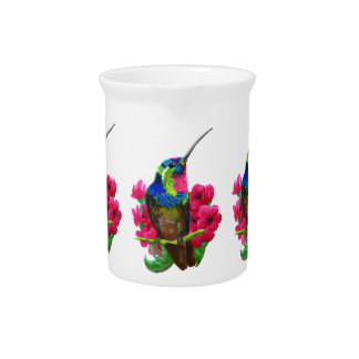 Hummingbird hand drawing bright illustration. Neon Pitcher
