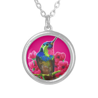Hummingbird hand drawing bright illustration. Neon Silver Plated Necklace