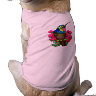Hummingbird hand drawing bright illustration. Neon Sleeveless Dog Shirt