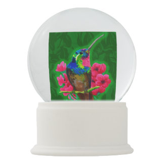 Hummingbird hand drawing bright illustration. Neon Snow Globe
