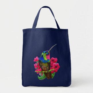 Hummingbird hand drawing bright illustration. Neon Tote Bag