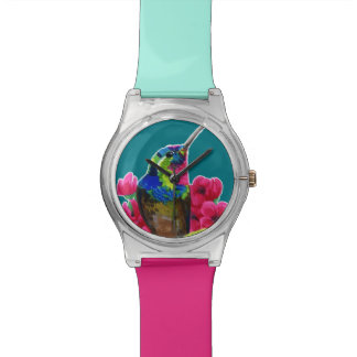 Hummingbird hand drawing bright illustration. Neon Watch