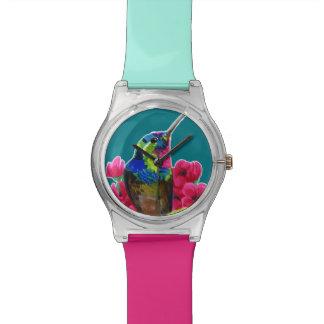 Hummingbird hand drawing bright illustration. Neon Wrist Watches