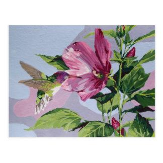 hummingbird handpainted postcard