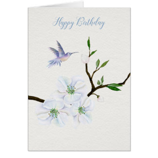 Hummingbird Happy Birthday with Magnolia Flowers Card