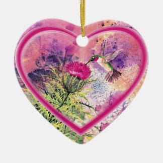 Hummingbird Heart Ornament