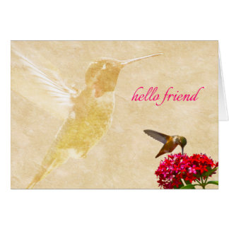 Hummingbird, hello friend - Note Card