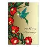 Hummingbird Hibiscus Gold 50th Wedding Anniversary Custom Announcement