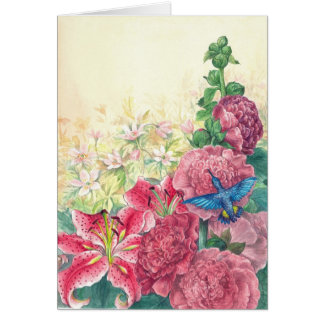 hummingbird-hollyhock card
