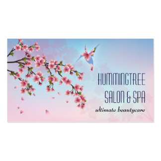 Hummingbird in Cherry Blossoms Beauty Business Card Templates