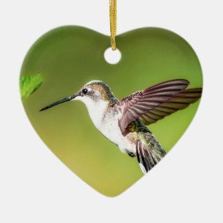 Hummingbird in flight ceramic heart decoration