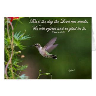Hummingbird in Flight Psalm 118:24 Bible Verse Card
