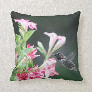 Hummingbird in red and white flowers cushion
