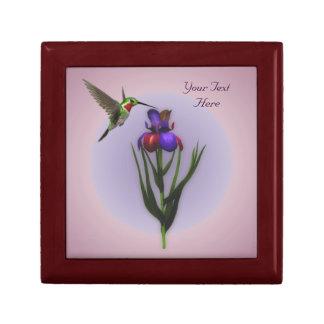 Hummingbird Iris Flower Nature Jewellery Box Small Square Gift Box