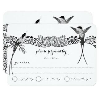 Hummingbird Love Bird Wedding RSVP Card