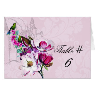 Hummingbird Magnolia Customised Table Number Cards