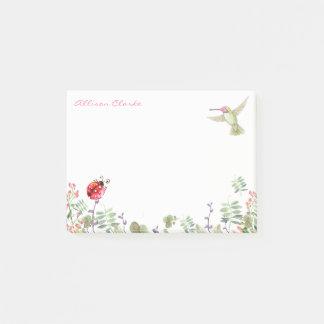 Hummingbird Nature Garden Ladybug Meadow Monogram Post-it Notes