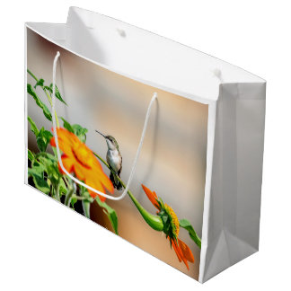 Hummingbird on a flowering plant large gift bag
