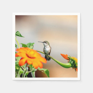 Hummingbird on a flowering plant paper napkins
