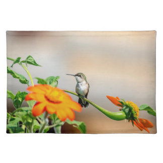 Hummingbird on a flowering plant placemat