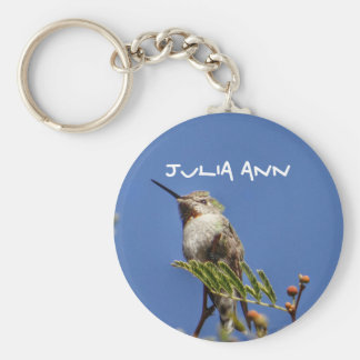 Hummingbird on Branch by SnapDaddy Basic Round Button Key Ring