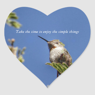 Hummingbird on Branch by SnapDaddy Heart Sticker