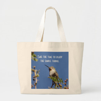 Hummingbird on Branch by SnapDaddy Large Tote Bag