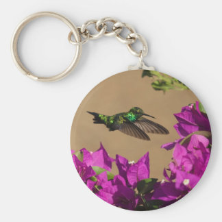 Hummingbird on purple key ring