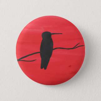 Hummingbird On Red 6 Cm Round Badge